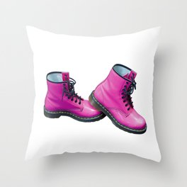 Hot Pink Safety Boots Throw Pillow