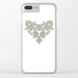 'Love 03' - Dutch heart of lace in grey and soft yellow Clear iPhone Case