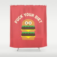 hamburger Shower Curtains featuring Discounting Calories by David Olenick