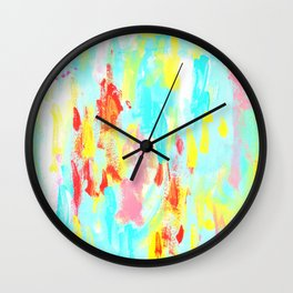 See You - abstract expressionism floral painting modern art Wall Clock