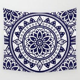 Mandala Blue Spiritual Zen Bohemian Hippie Yoga Mantra Meditation Wall Tapestry