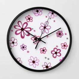 Pink Posies Wall Clock