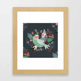 Holiday Birds Love Framed Art Print