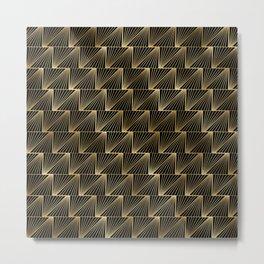 Diagonal Triangles in Black and Gold Vintage Faux Foil Art Deco Vintage Foil Pattern Metal Print