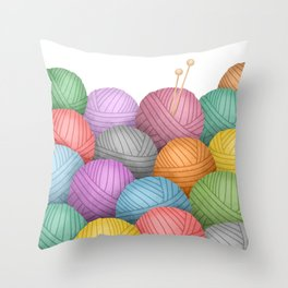 So Much Yarn Throw Pillow