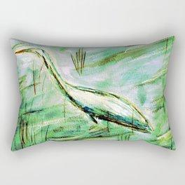 Egret in Green Rectangular Pillow