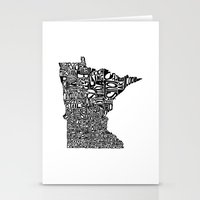 minnesota Stationery Cards featuring Typographic Minnesota by CAPow!