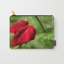 Red Leaf Macro // High Resolution Photograph in the Evergreen Trees Carry-All Pouch