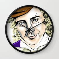 willy wonka Wall Clocks featuring Willy Wonka by Bubble Trump Ltd