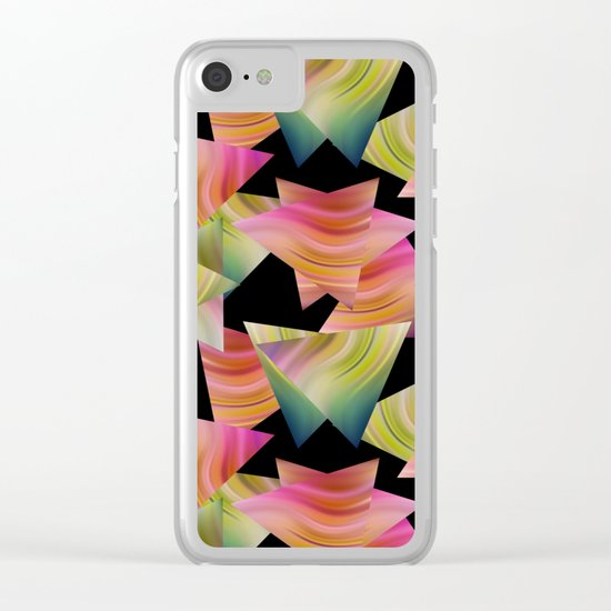 Abstraction . Rainbow triangles . Clear iPhone Case