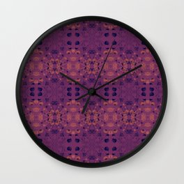 Japanese Lantern Pattern - Apple Blossom Pink & Prussian Blue Pattern on Violet by artestreestudio Wall Clock