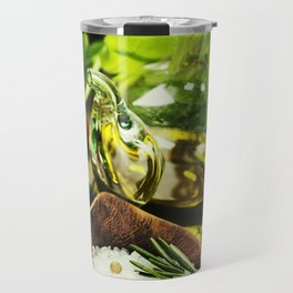 fresh  herbs  with  mezzaluna, olive oil and vegetables on cutting board Travel Mug