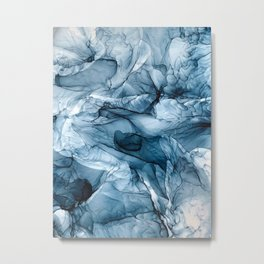 Churning Blue Ocean Waves Abstract Painting Metal Print