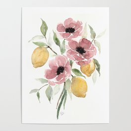 Watercolor-poppies-and-lemons Poster