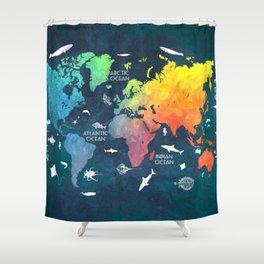 Ocean World Map color #map #worldmap Shower Curtain