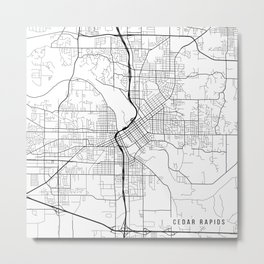 Cedar Rapids Map, USA - Black and White Metal Print