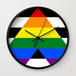 Straight Ally pride flag Wall Clock