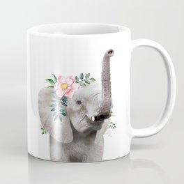 Baby Elephant with Flower Crown Coffee Mug