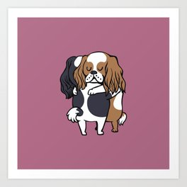 Cavalier King Charles Spaniel hugs Art Print