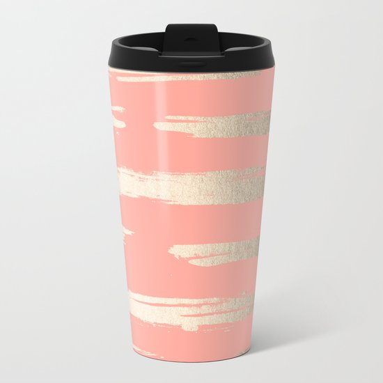Simply Brushed Stripe in White Gold Sands on Salmon Pink Metal Travel Mug