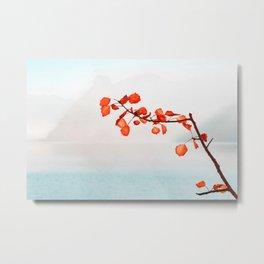 Oak orange leaves on a lake watercolor painting  Metal Print