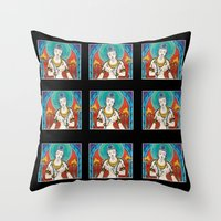 buddhism Throw Pillows featuring Buddhism by Panda Cool