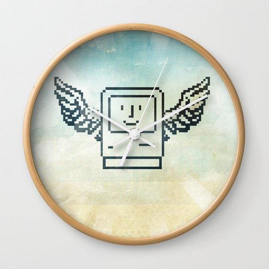 pixel mac with wings Wall Clock