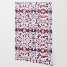Happy Swirls in Red and Teal Wallpaper