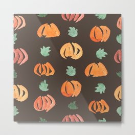 Pumpkins with Leaves Pattern on Taupe Metal Print