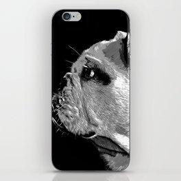 english bulldog dog vector art black white iPhone Skin