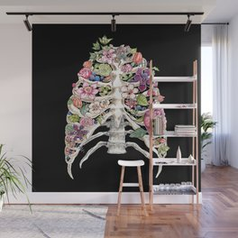 """""""Blooming on the Inside"""" - Flowers in Ribcage Wall Mural"""