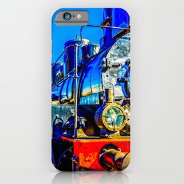 Cool Vintage Steam Locomotive. Black, Red Metal, An Oil Lamp Headlight iPhone Case