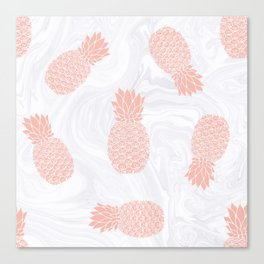 Rose Gold Pineapples on White Marble Canvas Print
