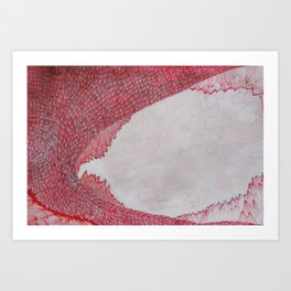 Red and White Pods Art Print