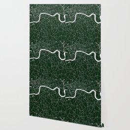 Green on White London Street Map Wallpaper