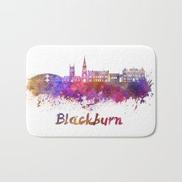 Blackburn skyline in watercolor Bath Mat