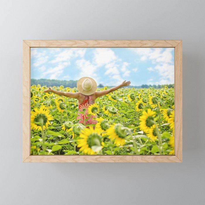 Woman Free in Sunflower Field Framed Mini Art Print