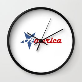 American star- American flag colors and star- 4th of July independence day Wall Clock