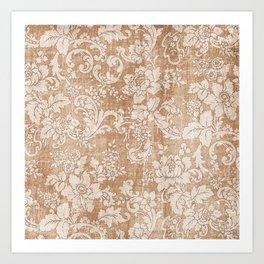 Vintage white brown grunge shabby floral Art Print