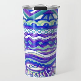 Aztec Blue Mountains and Fields of Streams Travel Mug