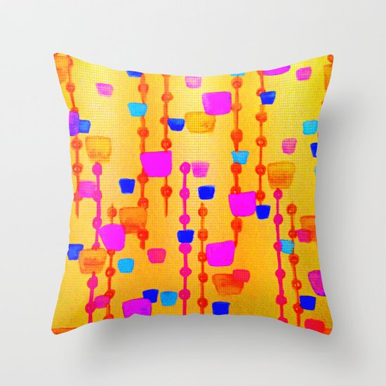 POLKA DOT MATRIX - Bright Bold Cheerful Dotty Geometric Squares Circles Abstract Watercolor Painting Throw Pillow