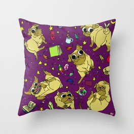 Puggleton Throw Pillow