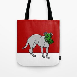 Dog Wearing A Gas Mask Tote Bag