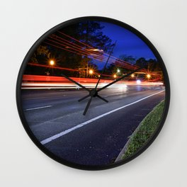 Light trail in traffic Wall Clock