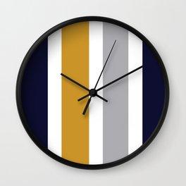 Quatro Stripe Minimalist Broad Stripe Color Block Pattern in Mustard Yellow, Navy Blue, Gray, White Wall Clock