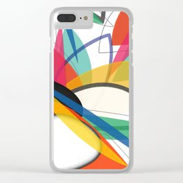 Contemporary composition of multicolored abstract flowers, superposition of geometric shapes Clear iPhone Case