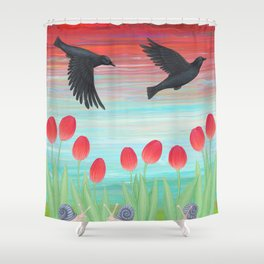 crows, tulips, & snails Shower Curtain