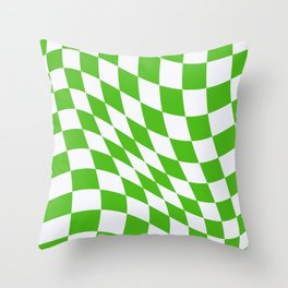 Warped Check - Kelly Green  Throw Pillow