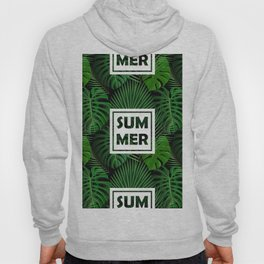 Tropical green monster leaves floral summer typography Hoody