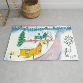 Christmas Winter Scenery Painting Rug